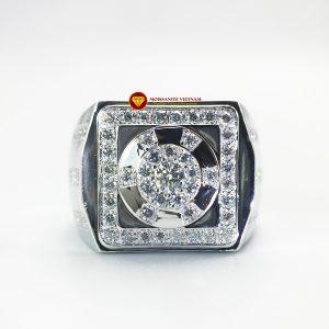 Nhẫn nam kim cương nhân tạo Mỹ moissanite chủ ghép vàng trắng 18k NO.7