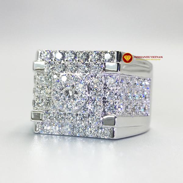 Nhẫn nam kim cương nhân tạo Mỹ moissanite chủ ghép vàng trắng 18k NO.9 1