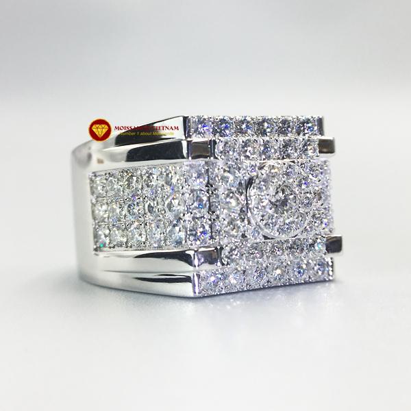 Nhẫn nam kim cương nhân tạo Mỹ moissanite chủ ghép vàng trắng 18k NO.9 2