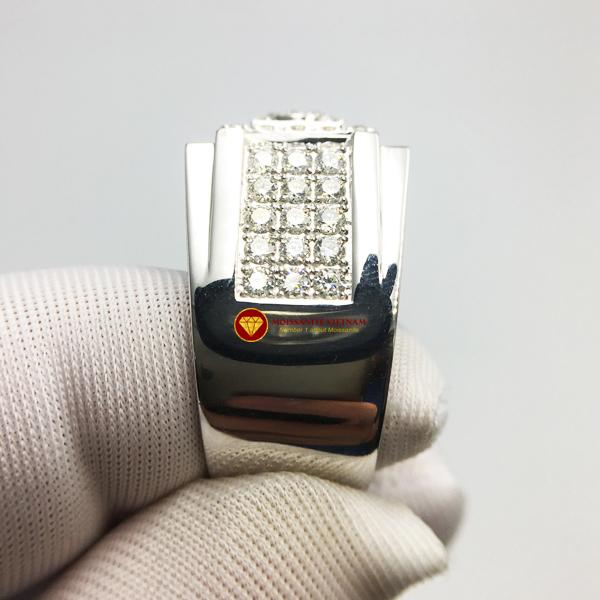 Nhẫn nam kim cương nhân tạo Mỹ moissanite chủ ghép vàng trắng 18k NO.9 4