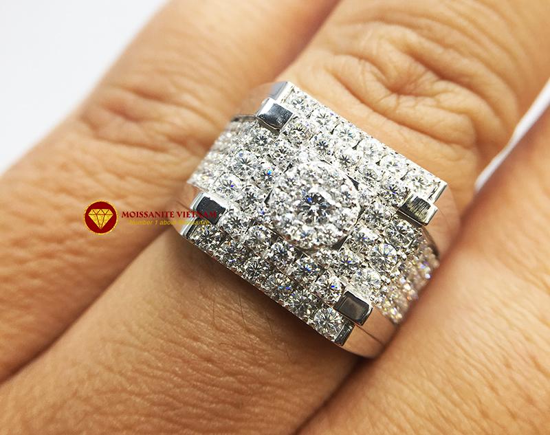 Nhẫn nam kim cương nhân tạo Mỹ moissanite chủ ghép vàng trắng 18k NO.9 5