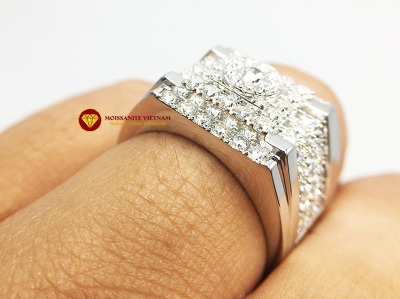 Nhẫn nam kim cương nhân tạo Mỹ moissanite chủ ghép vàng trắng 18k NO.9 6