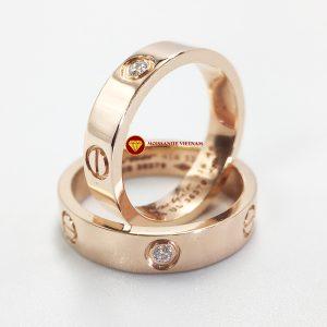 Nhẫn tình yêu Love Ring 1 viên xoàn Mỹ moissanite vàng hồng 18k