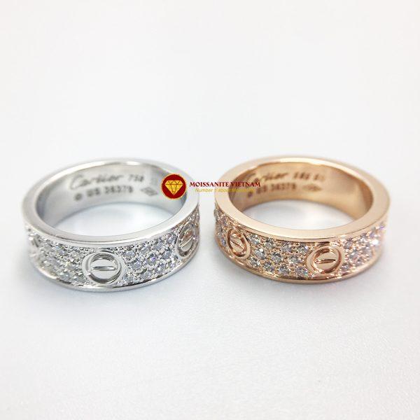 Nhẫn tình yêu love ring kim cương nhân tạo mỹ moissanite vàng 18k 1
