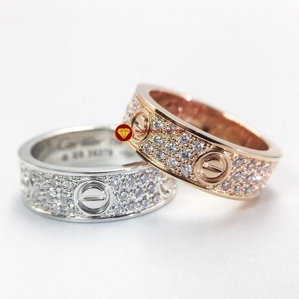 Nhẫn tình yêu love ring kim cương nhân tạo mỹ moissanite vàng 18k 3