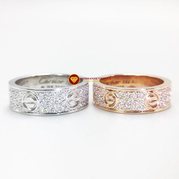 Nhẫn tình yêu love ring kim cương nhân tạo mỹ moissanite vàng 18k 4