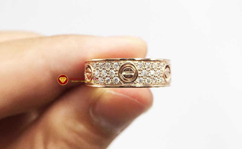 Nhẫn tình yêu love ring kim cương nhân tạo mỹ moissanite vàng 18k 6