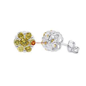 Bông tai nam kim cương nhân tạo mỹ moissanite cluster vàng 1