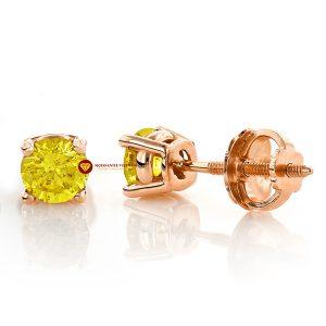 Bông tai nam kim cương nhân tạo mỹ moissanite round vàng