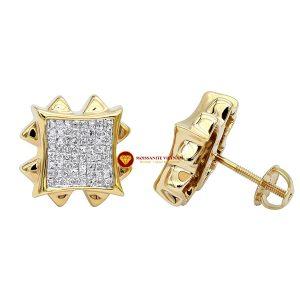 Bông tai nam kim cương nhân tạo mỹ moissanite stud earrings 1