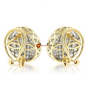 Bông tai nam kim cương nhân tạo mỹ moissanite tròn princess