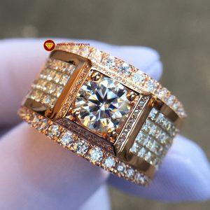 Nhẫn nam kim cương nhân tạo Mỹ moissanite chủ 7ly2 vàng 18k