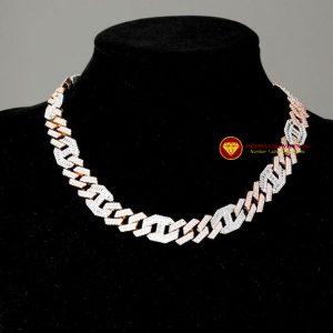 Dây chuyền kim cương nam cuban link mix vàng trắng hồng