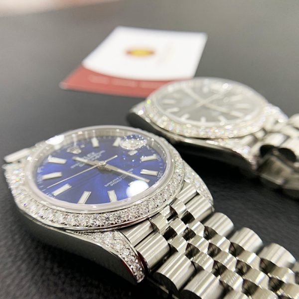 Độ niềng đồng hồ kim cương rolex size 41 full niềng và đai 6