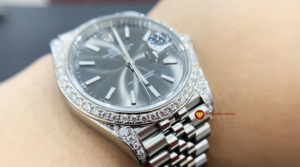 Độ niềng đồng hồ kim cương rolex size 41 full niềng và đai 7