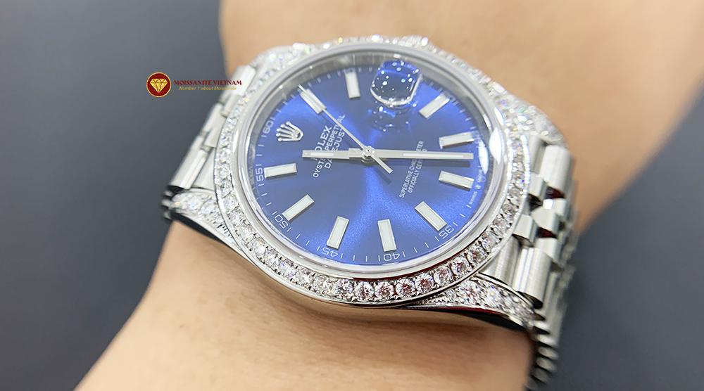 Độ niềng đồng hồ kim cương rolex size 41 full niềng và đai 9