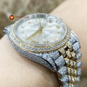 Độ đồng hồ full kim cương Rolex size 36 demi vàng