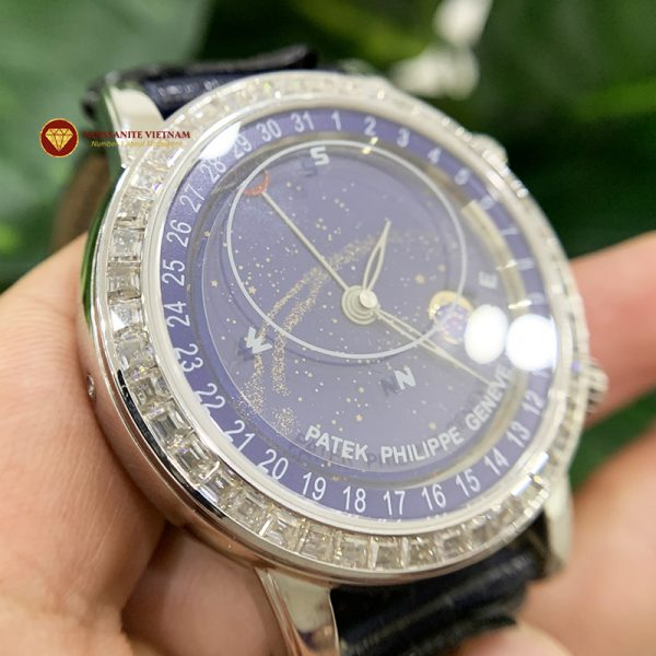 Độ niềng đồng hồ kim cương moissanite taper Patek Philippe