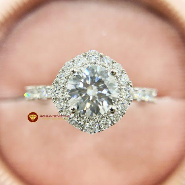 Nhẫn nữ kim cương moissanite chủ 7ly engagement